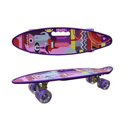 Penny board model Pink Graffiti cu maner roti luminoase 60 cm II
