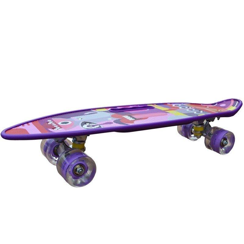 Penny board model Pink Graffiti cu maner roti luminoase 60 cm