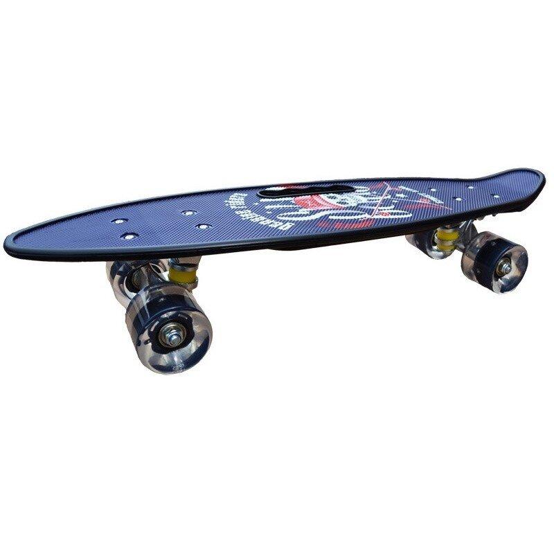 Penny board model Purple Pirate cu maner roti luminoase 60 cm