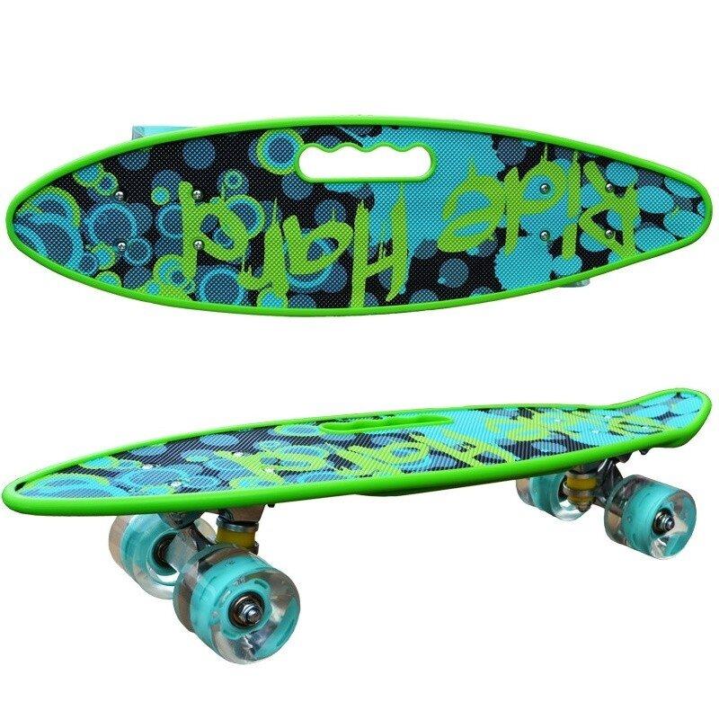 Penny board model Ride Hard cu maner roti luminoase 60 cm