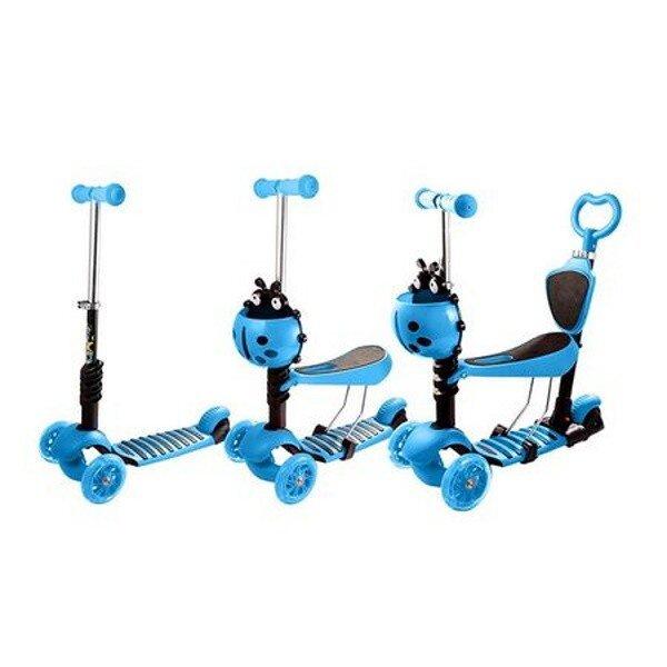 Trotineta 5 in 1 cu maner de impins si roti cu lumini Scooter OX11 albastra 3