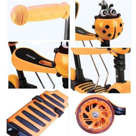 Trotineta 5 in 1 cu maner de impins si roti cu lumini Scooter OX11 portocalie 2