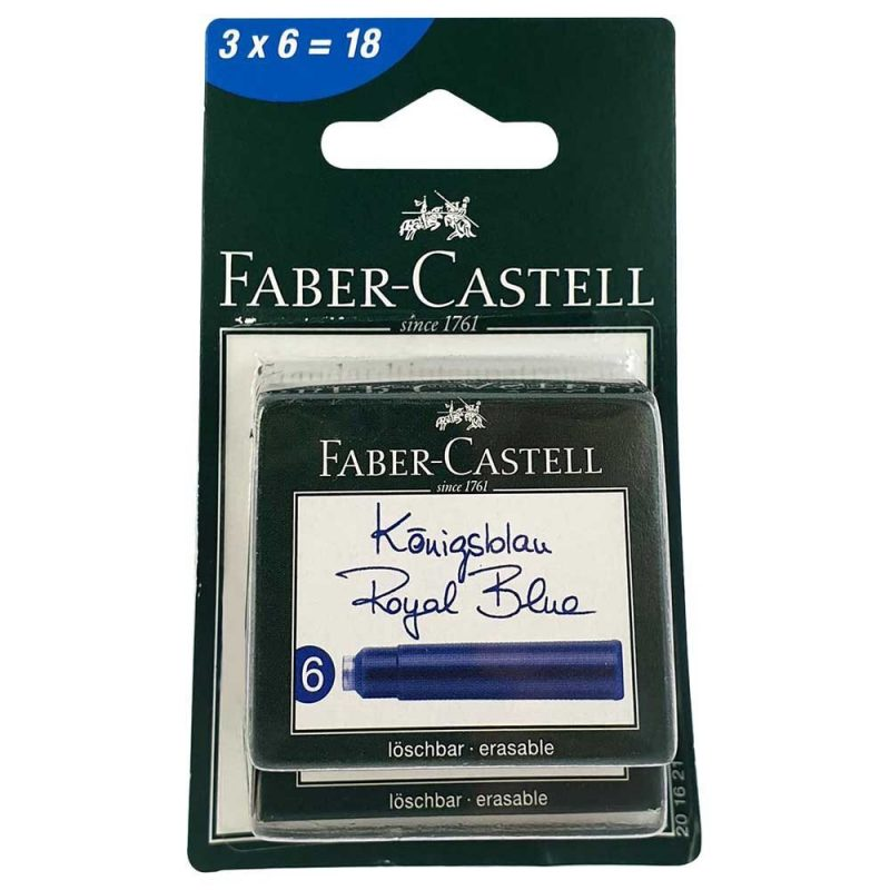 Blister 3 cutii x 6 cartuse cerneala albastre Faber Castell