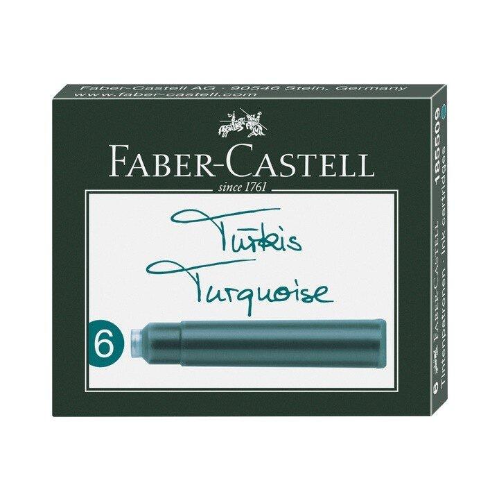 Cartuse cerneala mici turcoaz 6 buc cutie Faber Castell
