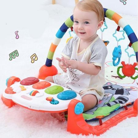 Centru de activitati multifunctional 4 in 1 Gobaby cu lumini sunete pian detasabil 5 jucarii zornaitoare lavabil copil