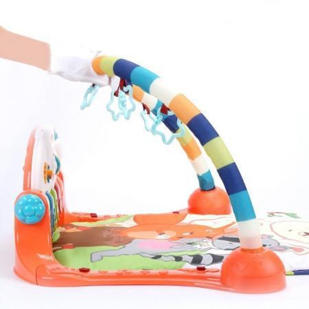 Centru de activitati multifunctional 4 in 1 Gobaby cu lumini sunete pian detasabil 5 jucarii zornaitoare lavabil copil rezistent