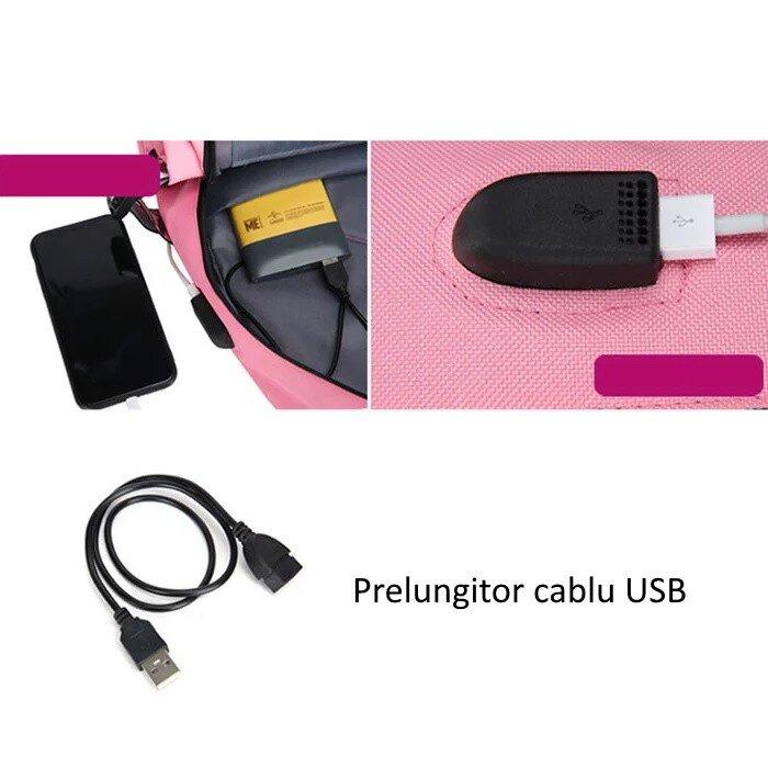 Ghiozdan rucsac Smart violet usb antifurt trending purple OX18 USB