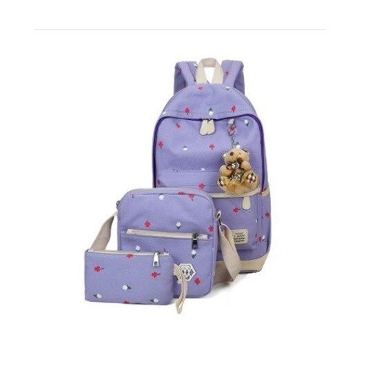 Ghiozdan rucsac Trending mov geanta de umar borseta 3 piese cu ursulet breloc cadou OX20 1