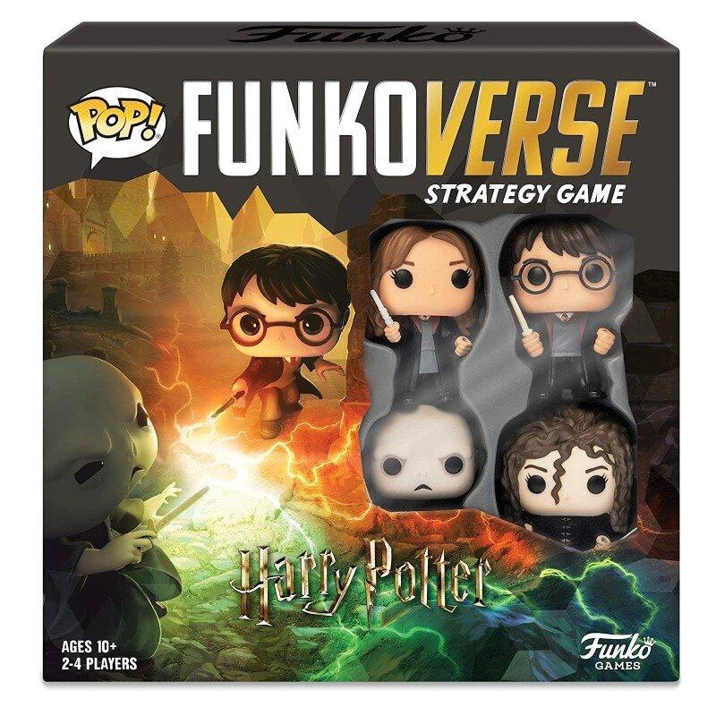 Joc de societate Funkoverse Harry Potter cu 4 figurine Lord Voldemort Bellatrix Lestrange Hermione Granger si Harry Potter