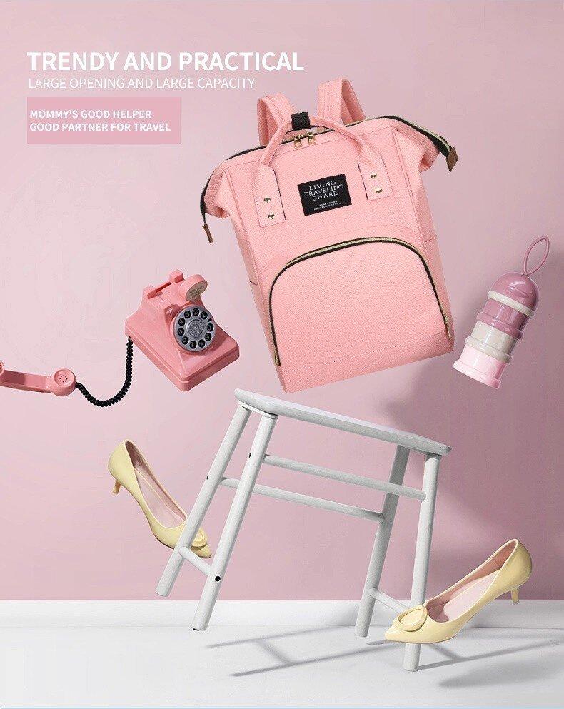 Rucsac geanta multifunctional de umar culoare carucior pentru mamici folositor in organizare accesorii bebelusi copii travel 42x18x27 cm 2