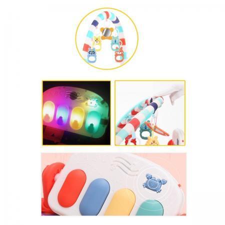 Salteluta interactiva Gobaby centru de activitati cu pian muzica lumini cu 5 jucarii incluse2