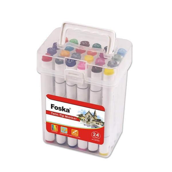 Set 24 piese markere premium Foska cu 2 capete culori pic