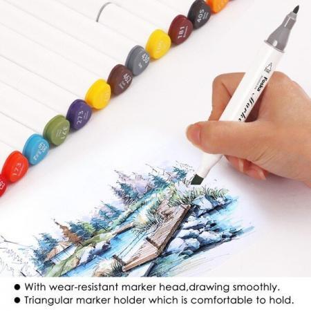 Set 24 piese markere premium Foska cu 2 capete diverse culori 2 capete