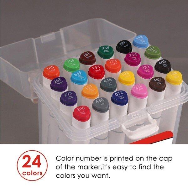 Set 24 piese markere premium Foska cu 2 capete diverse culori CUTIE