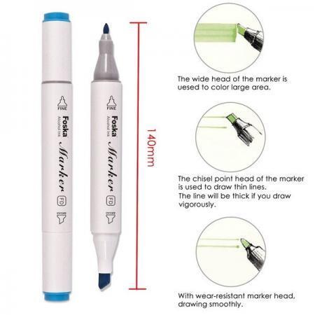 Set 24 piese markere premium Foska cu 2 capete diverse culori DESCRIERE