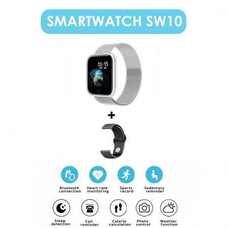 Ceas SmartWatch si bratara fitness 2 in 1 SWatch10 SILVER PROMO