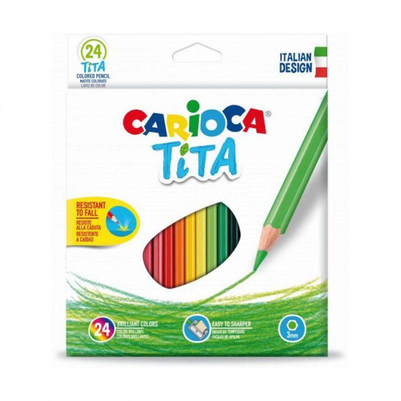 Creioane colorate plastic 24 culori set CARIOCA Tita 1000x1000 1