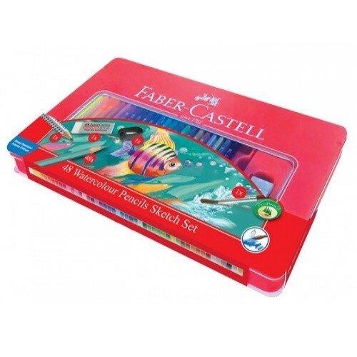 FC115933 Creioane colorate Acuarela 48 culori si 4 accesorii cutie metal Faber Castell01