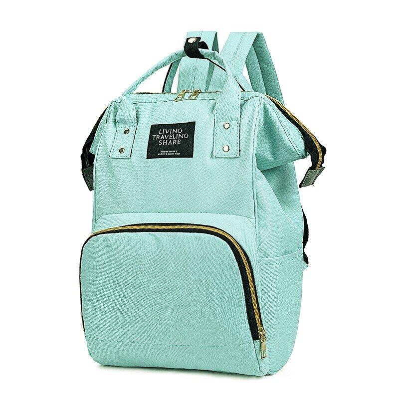 Rucsac geanta multifunctional de umar verde carucior pentru mamici folositor in organizare accesorii bebelusi copii travel 42x18x27 cm side