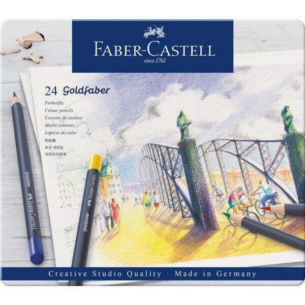 Creioane Colorate Faber Castell 24 culori goldfaber cutie metal 3