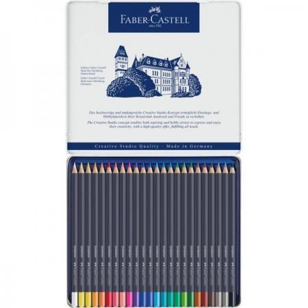 Creioane Colorate Faber Castell 24 culori goldfaber cutie metal