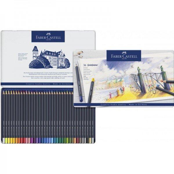 Creioane colorate Faber Castell 36 culori goldfaber cutie metal
