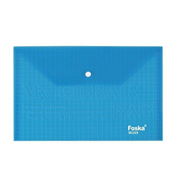Mapa A4 plastic cu buton 200 microni Foska albastru