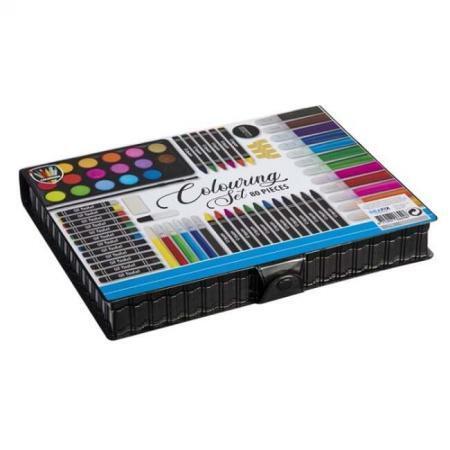 Set creativ pentru copii premium Grafix cu creioane colorate carioci accesorii pictura 80 bucati 13