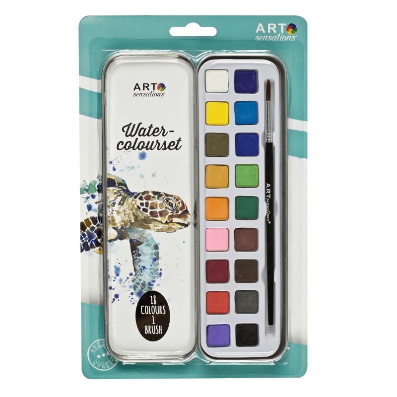 Acuarele 18 culori cu pensula in cutie metalica 2