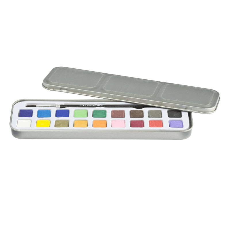 Acuarele 18 culori cu pensula in cutie metalica 3