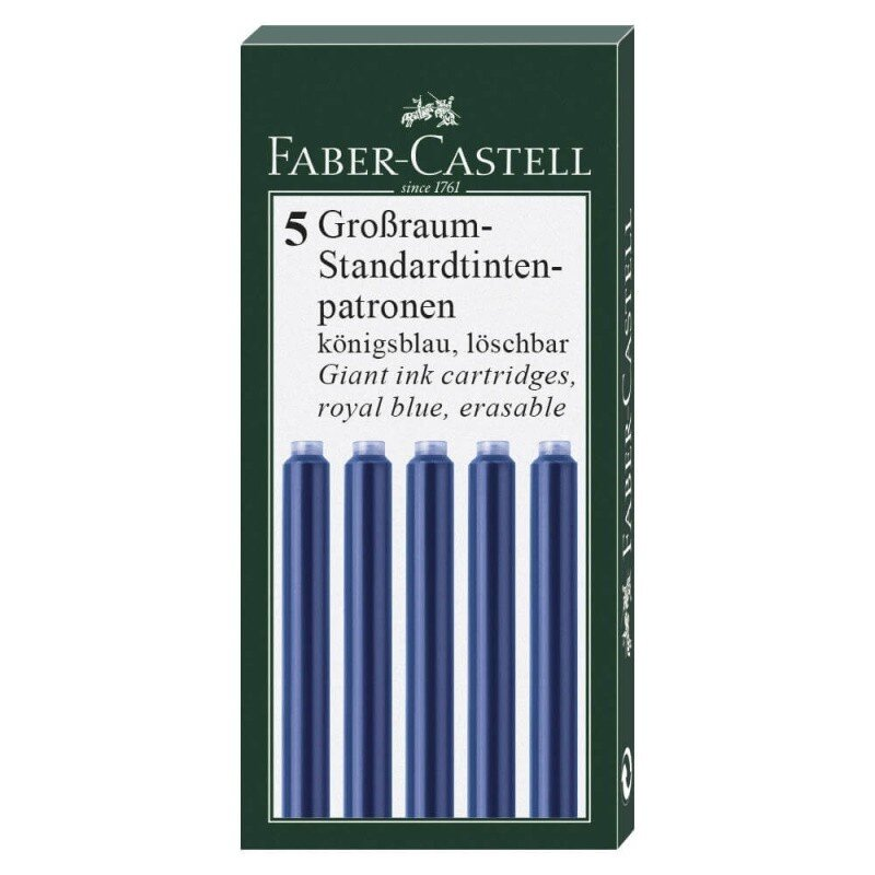 Cartuse cerneala mari albastre 5 buc cutie Faber Castell