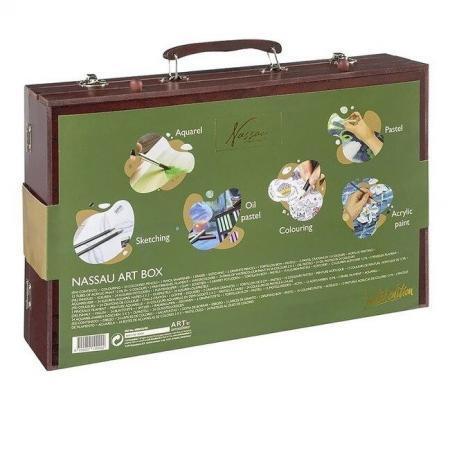 Set creativ desen multifunctional in cutie de lemn Nassau Lux 103 piese 4