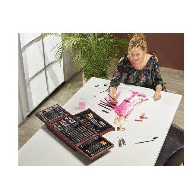 Set creativ desen multifunctional in cutie de lemn Nassau Lux 103 piese