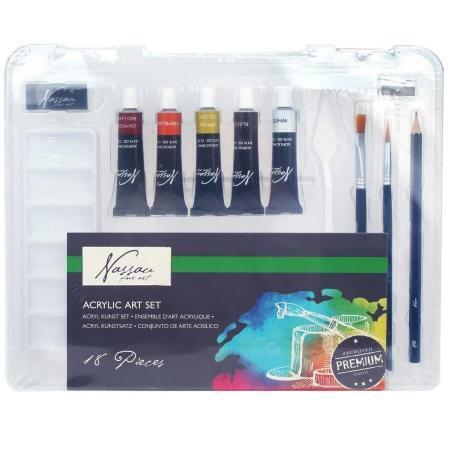 Set culori Acrilice Nassau Fine Art 18 piese in cutie de plastic 3