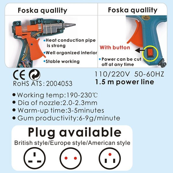 Pistol silicon cu baton 20 W lipire la cald Foska 5