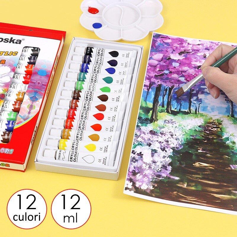 Set acuarele acrilice 12 culori Foska 5