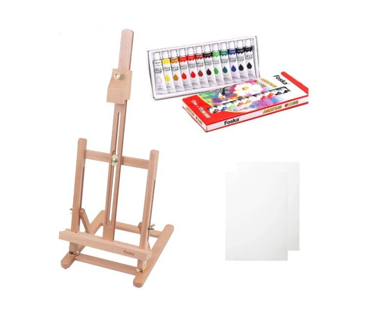 Pachet Foska Studio sevalet 2 panze si 12 culori acrilice