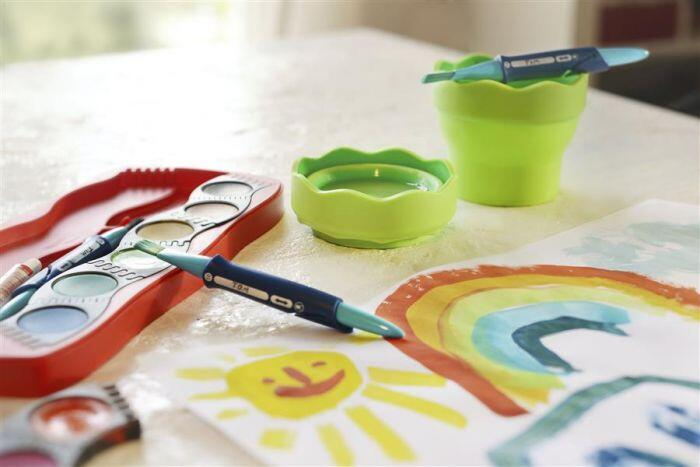 Pahar plastic pentru spalat pensule vernil Click go Faber Castell FC181570 2