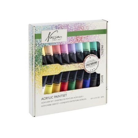 Set culori acrilice mix Nassau Fine Art 18 culorix36ml