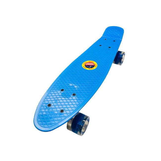 Penny board albastru model Minimal cu roti led albastru transparent 55 cm 0