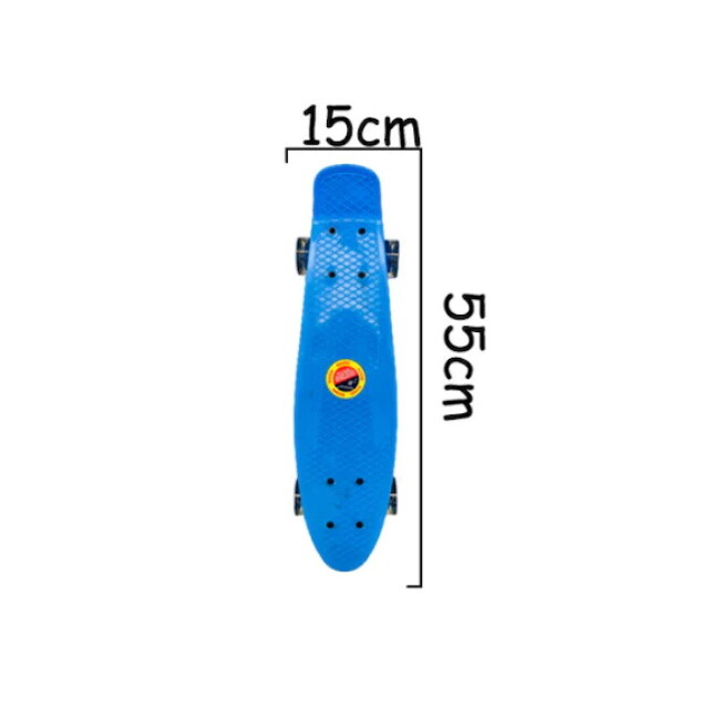 Penny board albastru model Minimal cu roti led albastru transparent 55 cm