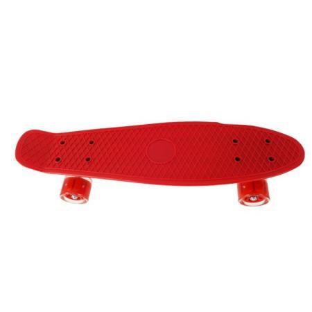 Penny board rosu model Minimal cu roti led rosu transparent 55 cm 2