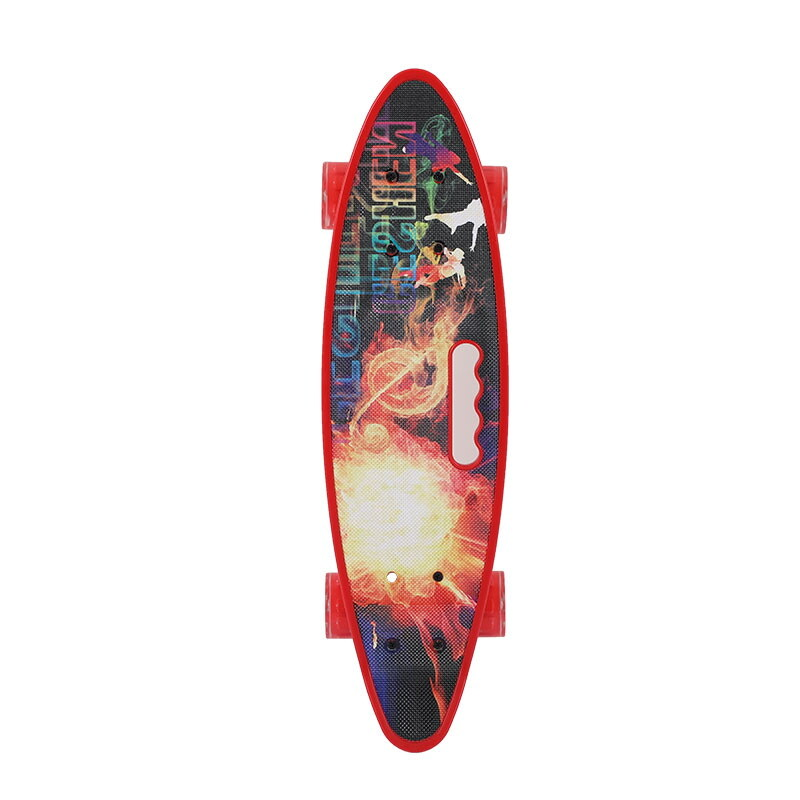 Penny board rosu model Red Sun cu maner roti luminoase 60 cm 2