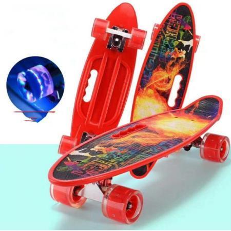 Penny board rosu model Red Sun cu maner roti luminoase 60 cm 6