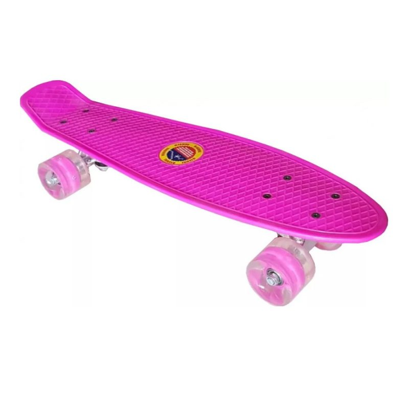 Penny board roz model Minimal cu roti led transparent 55 cm