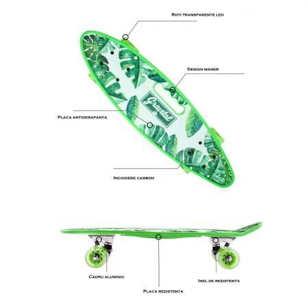 Penny board verde model Grairtal cu maner roti luminoase 60 cm 33