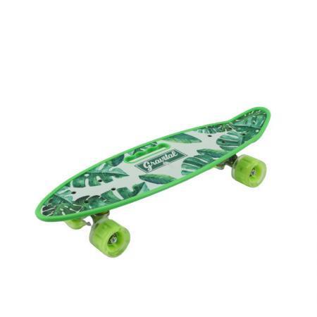 Penny board verde model Grairtal cu maner roti luminoase 60 cm