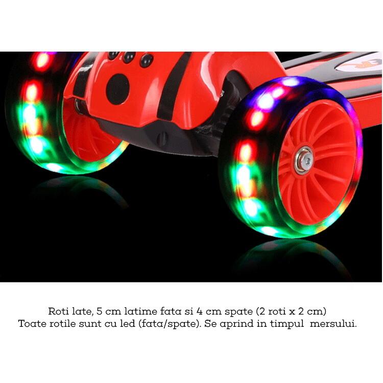 Trotineta copii pliabila Ox Robo rosie cu lumini 11